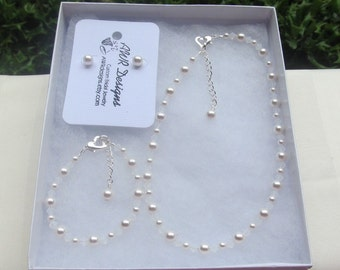 Flower Girl Jewelry White Swarovski Pearls and White Opal Crystals Prom Sorority Jewelry Set