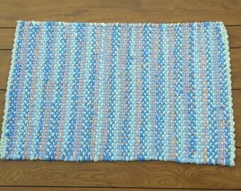 Vibrant Pastels twined rag rug