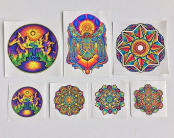 Sticker Pack! - Hand Drawn Stickers - Mandala Sticker - iPhone Sticker - Psychedelic Sticker - Laptop Sticker - Sacred geometry Sticker