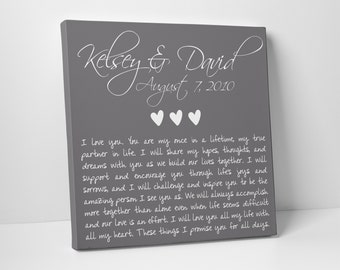 Valentine's Day Gift, Wedding Gift, Anniversary, Wedding Vows on Canvas, Fathers Day, For Him, For Her, Wedding Sign, Vow Renewal