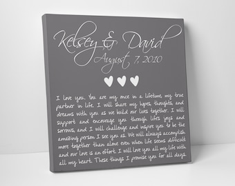 Wedding Gift, Anniversary, Wedding Vows on Canvas, Valentines Day, Christmas, Fathers Day, For Him, For Her, Wedding Sign, Vow Renewal