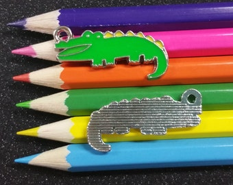 2 PCS - Alligator Gator Crocodile Louisiana Enamel Green Yellow Silver Charm Pendant C0667