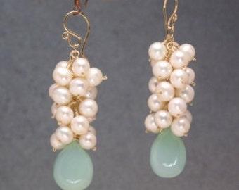 Ivory pearls sea blue chalcedony dangle cluster earrings Princess 4