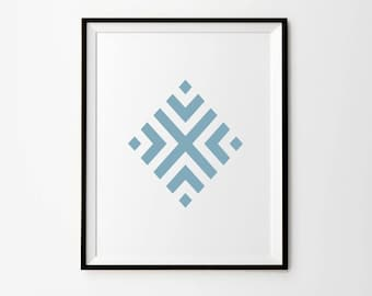 Geometric Print, Blue Poster, Geometric Wall Print, Blue Home Decor, Geometric Digital Print, Blue Instant Download