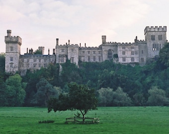 Irish Castle, Ireland Photography Lismore Castle, Ireland Sunset, Irish Landscape, Ireland Decor Wall Artwork Office Decor Gray and Green