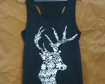 Flower deer tshirt sleeveless shirt aztec animal tee /workout tank top/ singlet/ flower prints/ summer tops/ women shirts size S XL Sale