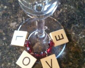 Love Scrabble Tiles Wine Charm