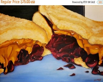 ON SALE 20% Sandwich Painting//Food Painting//Oil Paintings// 18x24//  Blue Painting