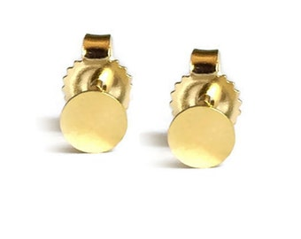 14k gold dots earring studs, gold round studs