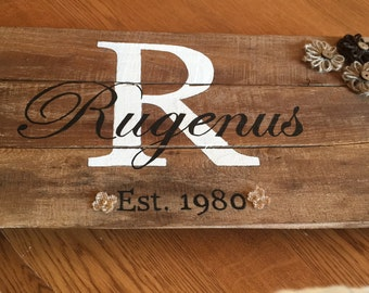 Wood stained monogrammed pallet sign