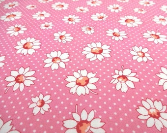 SALE Japanese Fabric LECIEN Flower Daisy Polka Dots Pink Fat Quarter