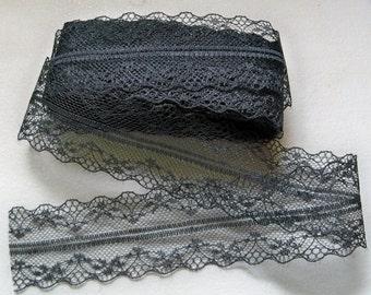 """Black Lace Trim-38mm-(1-1/2"""")-3 YDS  #L38-001"""