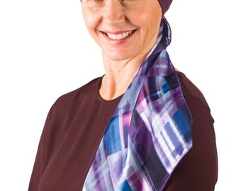 Grace - Jersey Cotton Hat with Chiffon Scarf for Cancer, Chemo and Hair Loss