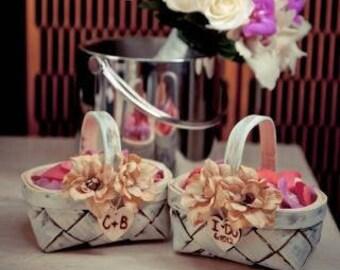Rustic Flower Girl Basket, Flower Girl Baskets, Boho Wedding, Rustic Wedding, Beach Wedding, Woodland Flower Girl, Birch Basket, Blush Pink