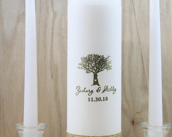 Gold Wedding Candle foil personalized anniversary Candle Custom Made Unity Candle Ceremony Custom  Set Rustic Wedding Candle Made to order