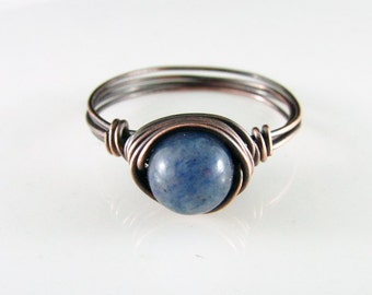Wire Wrapped Ring Blue Aventurine Ring Copper Ring Wire Wrapped Jewelry Blue Stone Ring Copper Jewelry