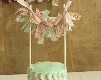Shabby Chic Fabric Banner Cake Topper