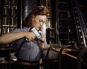 Poster, Many Sizes Available; Operating Drill, North American Aviation, Rosie The Riveter 1942