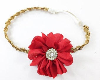 Red Headband, Red Flower Girl Headband, Red and Gold Headband, Gold Headband, Sequin Headband, Deep red Headband, Red Flower Headband