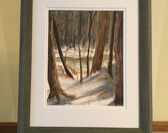 Original watercolor of bare trees in the winter