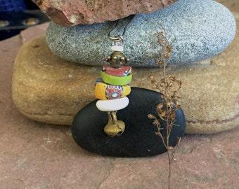 zipper pull of millefiore venetian trade beads, brass and bell