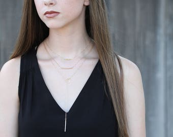 Gold filled Y Necklace, Gold Lariat Necklace, Long Bar Necklace, Long Choker, Gold Choker, Long Lariat Necklace Jewelry, Dainty Gold Lariat