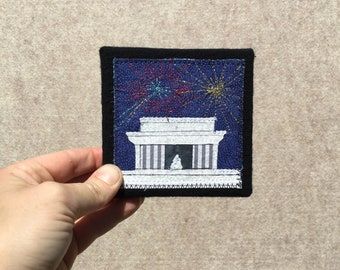 Mini Lincoln Memorial with Fireworks, 4x4 inches, original sewn fabric artwork, handmade, freehand appliqué, ready to hang canvas