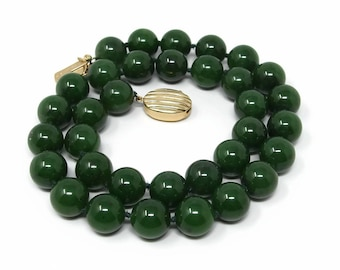 GUMPS 14K Gold Jade Necklace, Nephrite Jade, 18 Inch, 14MM Beads, Estate Jewelry, Yellow Gold, Spinach Jade, San Fransico, Bead Necklace