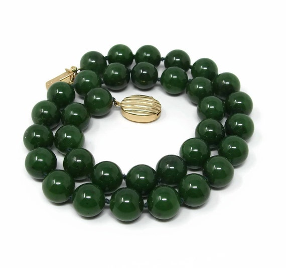 Gumps 14k gold jade necklace nephrite jade 18 inch 14mm aloadofball Image collections