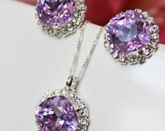 Violet Swarovski Crystal Bridal Jewelry Set, Wedding Jewelry Set, Wedding Earrings Pendant Jewelry Set, Bridesmaids Jewelry Set, Accessories