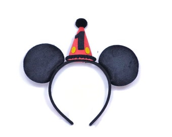 Boy Mickey Ears No Glitter  || Minnie Birthday Ears || Mini Hat || First Birthday Outfit || Minnie Ears || Disney Any Age Birthday Outfit |