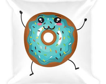Mr. Blue Sprinkles the Dancing Donut Square Throw Pillow