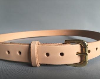 Women's nude full grain leather belt, women's leather belt, thin leather belt, natural leather belt, thin jeans belt, summer pink belt