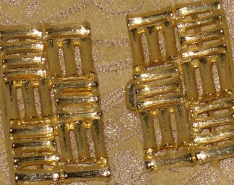 Mimi Di N Belt Buckle Gold Tone Bamboo Square Signed Vintage