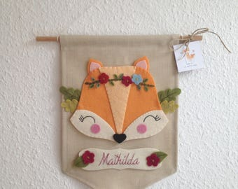 Name tag with Fox, pennant with Fox, mural with Fox, pennant with wish name, mural with Name, Fox mural, pennant of Fabric