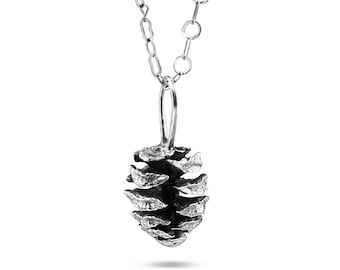 Sterling Silver Giant Sequoia Cone Pendant Necklace