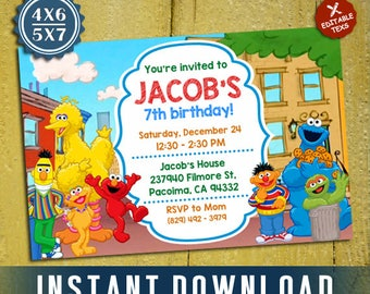 Sesame Street Birthday, Sesame Street Invitation, Sesame Street Party, Sesame, Editable Invitation, Editable PDF Template, Instant Download