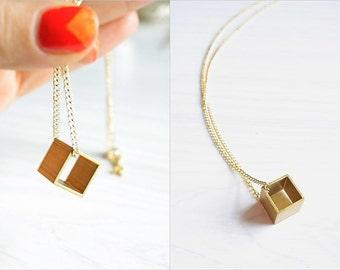Minimal Geometric Brass Cube Necklace