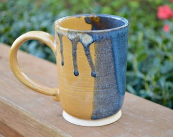 Tall Blue and Yellow Drippy Handmade Pottery Mug 11oz