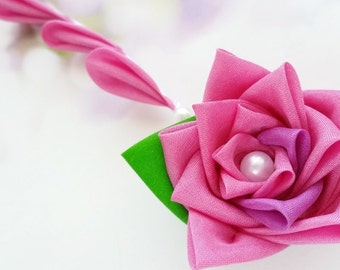 Pink Rose Silk Kanzashi Flower Hair Clip