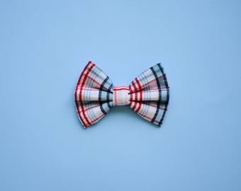 Red & Blue Plaid Print Bow / Boys Ahoy Bow