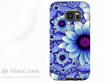 Blue Floral Case for Samsung Galaxy S7 EDGE - Premium Dual Layer Galaxy S 7 EDGE Case with Flower Art - Talavera Alejandra