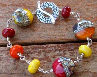 Sunshine Wire-wrapped Linked Bracelet - B164
