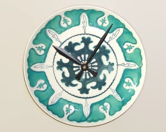 Sea Green and White Medallion Wall Clock - Plate Clock - Kitchen Clock - Teal Home Decor - Unique Wall Decor  - 1750