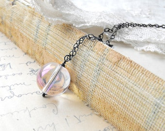 Blush Pink Crystal Necklace Sterling Silver Oxidized Wire Wrapped