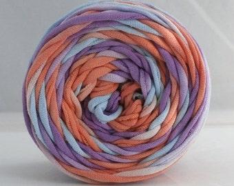 T Shirt Yarn, T-Shirt Yarn, Hand Dyed, 60 Yards- Lilac/Coral/Light Blue