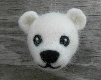 Felt Polar Bear Ornament, Needle Felted Wool Animal, Soft Sculpture, Needlefelted Arctic Animal, Handmade Christmas Holiday Ornament