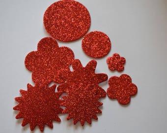 Scrapbooking STICKERS glitter stickers Red