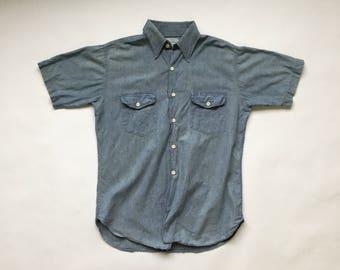 60s 70s Kmart Chambray Blue Denim Shirt 100% Sanforized Cotton Vintage 1960s 1970s (Medium)