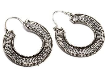 White Brass Swirls Border Hoop Earrings Tribal Earrings Mandala Jewellery Free UK Delivery Gift Boxed WB70 WBH1